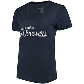 Women's Soft As A Grape Navy Milwaukee Brewers Double Steal Tri-Blend V-Neck T-Shirt