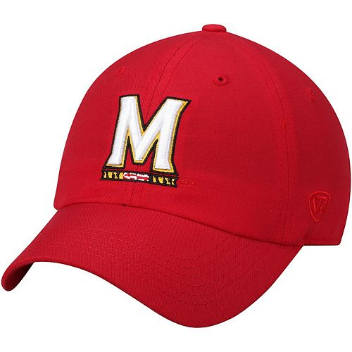 Men's Top of the World Red Maryland Terrapins Primary Logo Staple Adjustable Hat