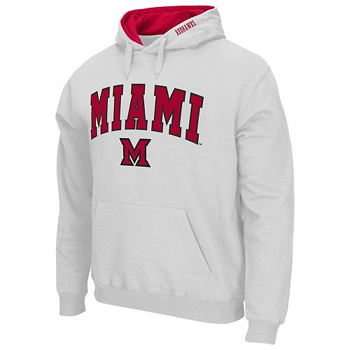 Men's Colosseum White Miami University RedHawks Arch & Logo Pullover Hoodie