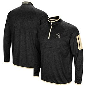 Men's Colosseum Black Vanderbilt Commodores Amnesia Quarter-Zip Pullover Jacket