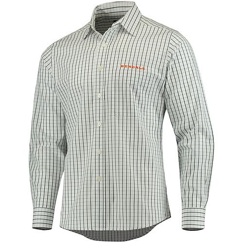 Men's Antigua Black/White Cincinnati Bengals Affiliate Woven Button-Up Long Sleeve Shirt