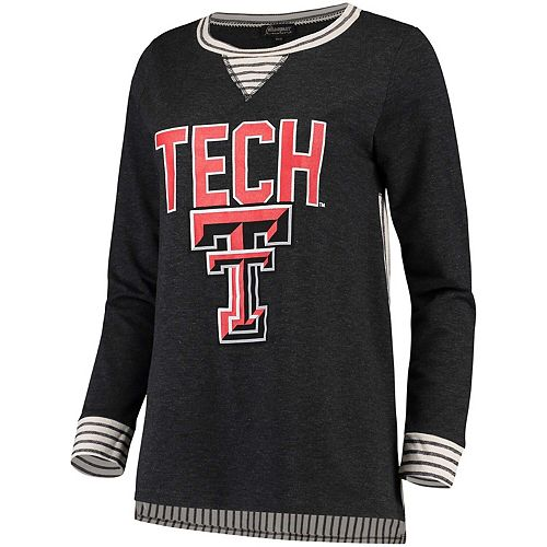 Women's Heathered Charcoal Texas Tech Red Raiders Striped Panel Oversized Long Sleeve Tri-Blend Tunic Shirt
