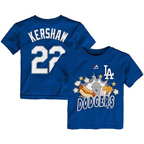 Toddler Majestic Clayton Kershaw Royal Los Angeles Dodgers Snack Attack Name & Number T-Shirt