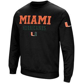 Men's Colosseum Black Miami Hurricanes Stacked Performance Pullover Sweatshirt