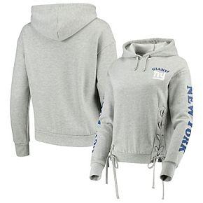Women's Junk Food Heathered Gray New York Giants Fashion Fleece Pullover Hoodie