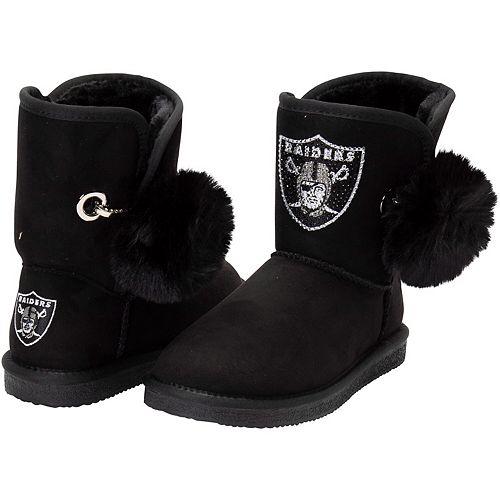 Women's Cuce Black Oakland Raiders The Fumble Faux Fur Boots