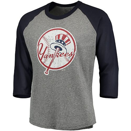 Men's Majestic Threads Heathered Gray/Navy New York Yankees Cooperstown Collection 3/4-Sleeve Raglan Tri-Blend T-Shirt