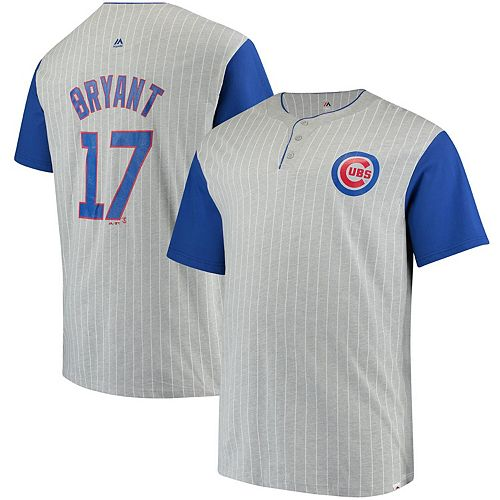 Men's Majestic Kris Bryant Gray Chicago Cubs Big & Tall From the Stretch Pinstripe Player T-Shirt