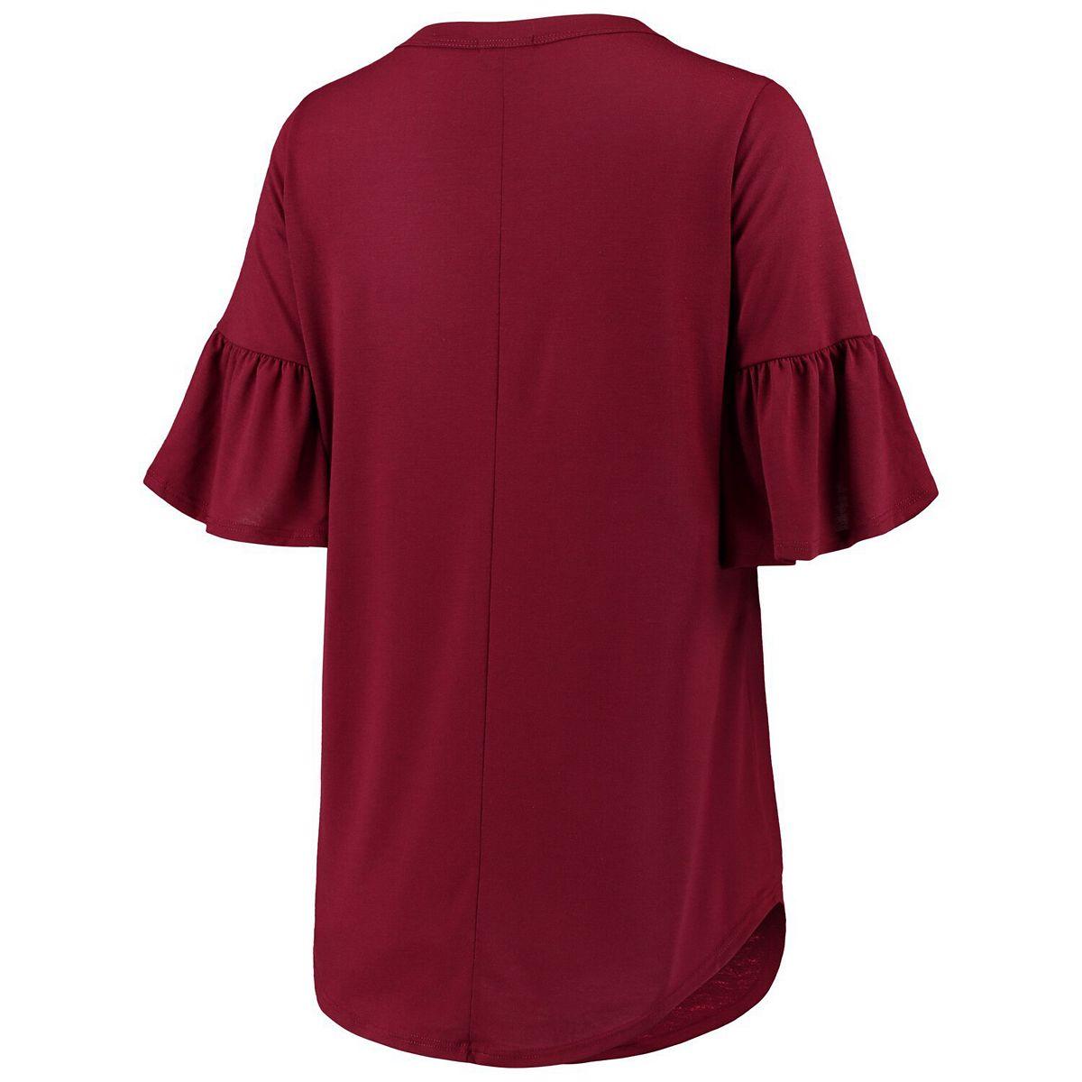Women's Garnet Florida State Seminoles Ruffle And Ready Keyhole Tri-Blend 3/4-Sleeve T-Shirt H9yot