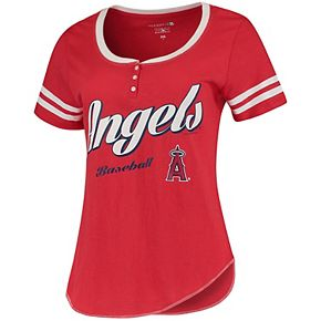 Women's 5th & Ocean by New Era Red/White Los Angeles Angels Slub Henley T-Shirt