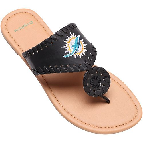 Women's Miami Dolphins High End Monotone Whipstitch Sandals