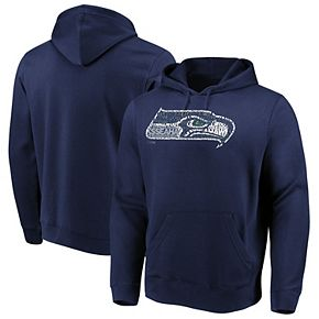 Men's Majestic College Navy Seattle Seahawks Line of Scrimmage Pullover Hooded Sweatshirt