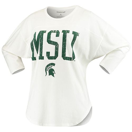 Women's White Michigan State Spartans Codes Vintage 3/4-Sleeve Striped Jersey T-Shirt