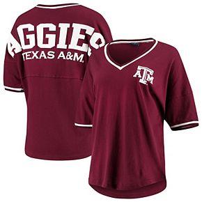 Women's Maroon Texas A&M Aggies Contrast V-Neck Spirit Jersey T-Shirt