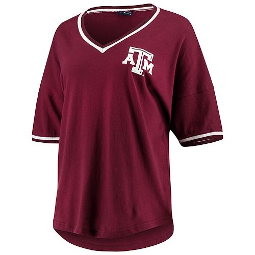 Women's Maroon Texas A&M Aggies Contrast V-Neck Spirit Jersey T-Shirt