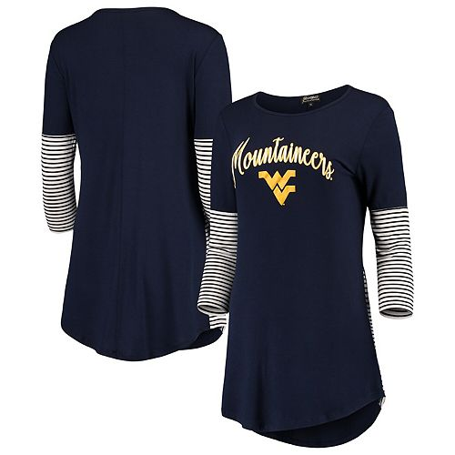 Women's Navy West Virginia Mountaineers Striking in Stripes Tunic Shirt