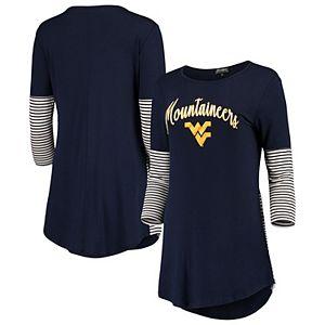 Women's Navy West Virginia Mountaineers Striking in Stripes Tunic Shirt