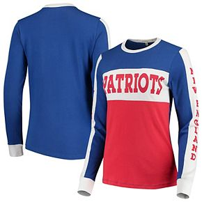 Women's Junk Food Royal/Red New England Patriots Color Block Racer Long Sleeve T-Shirt