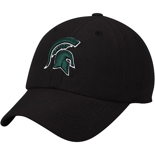 Men's Top of the World Black Michigan State Spartans Primary Logo Staple Adjustable Hat