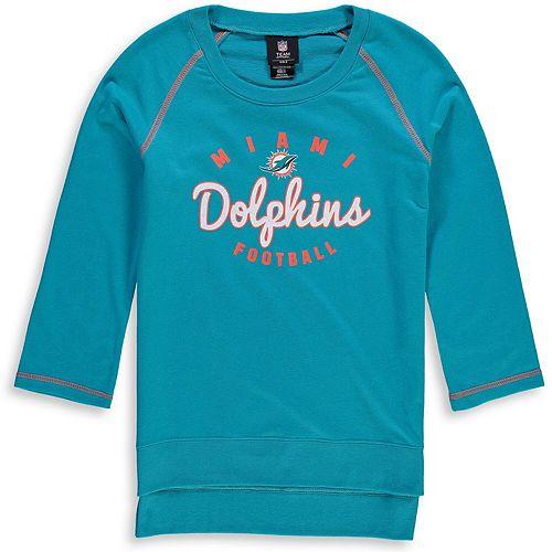 Girls Youth Aqua Miami Dolphins Overthrow 3/4-Sleeve Crew Sweatshirt