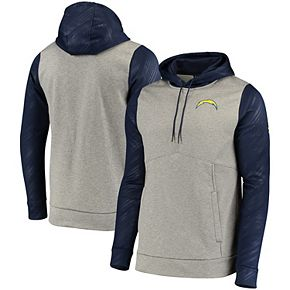 Men's Under Armour Gray/Navy Los Angeles Chargers Combine Authentic Novelty Performance Pullover Hoodie