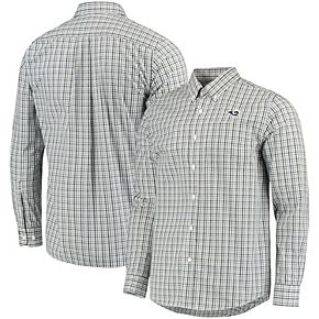 Men's Cutter & Buck Navy Los Angeles Rams Epic Easy Care Gilman Plaid Long Sleeve Button-Down Shirt