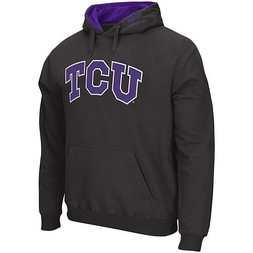 Men's Colosseum Charcoal TCU Horned Frogs Arch & Logo Tackle Twill Pullover Hoodie