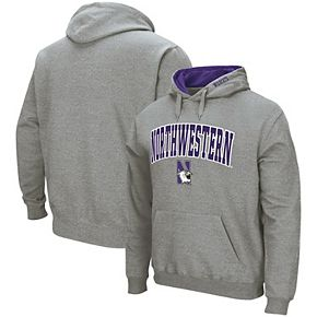 Men's Colosseum Heathered Gray Northwestern Wildcats Arch & Logo Tackle Twill Pullover Hoodie