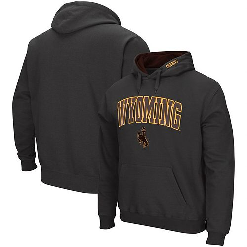 Men's Colosseum Charcoal Wyoming Cowboys Arch & Logo Tackle Twill Pullover Hoodie