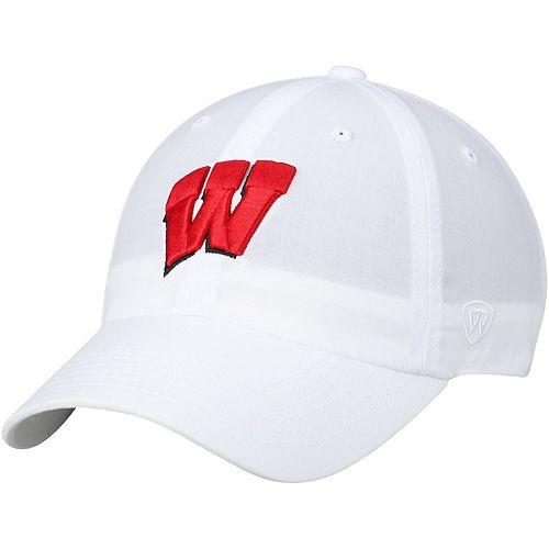 Men's Top of the World White Wisconsin Badgers Primary Logo Staple Adjustable Hat
