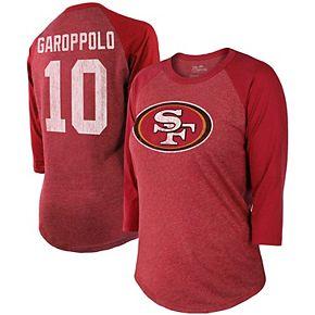 Women's Majestic Jimmy Garoppolo Scarlet San Francisco 49ers Player Name & Number Tri-Blend 3/4-Sleeve Raglan Sleeves