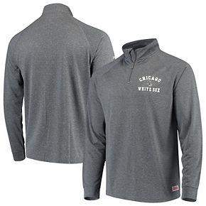 Men's Stitches Heathered Charcoal Chicago White Sox Team Raglan Quarter-Zip Pullover Jacket
