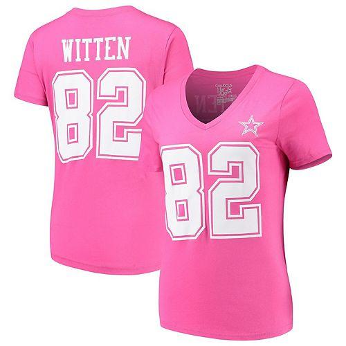 Women's Jason Witten Pink Dallas Cowboys Player Name & Number V-Neck T-Shirt