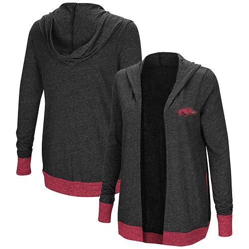 Women's Colosseum Charcoal Arkansas Razorbacks Plus Size Steeplechase Open Hooded Tri-Blend Cardigan