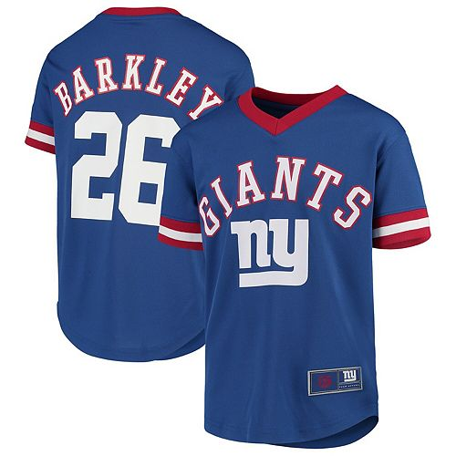 Youth Saquon Barkley Royal New York Giants Player Name & Number Fashion Mesh V-Neck Top