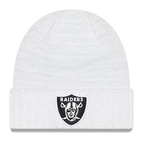 Youth New Era White Oakland Raiders 2017 Color Rush Official Knit Hat