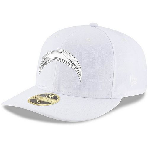 Men's New Era Los Angeles Chargers White on White Low Profile 59FIFTY Fitted Hat