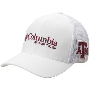 Men's Columbia White Texas A&M Aggies Collegiate PFG Flex Hat