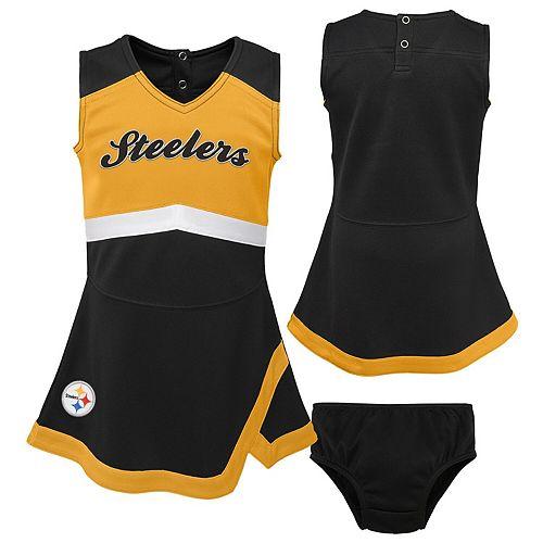 Girls Infant Black/Gold Pittsburgh Steelers Cheer Captain Jumper Dress