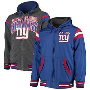 Men's G-III Extreme Royal/Heathered Gray New York Giants Extreme Hardball Reversible Fleece Full-Zip Jacket