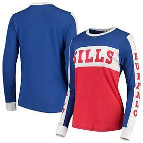 Women's Junk Food Royal/Red Buffalo Bills Color Block Racer Long Sleeve T-Shirt