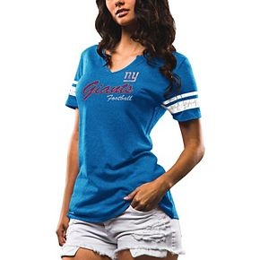 Women's Majestic Royal New York Giants Game Tradition Tri-Blend V-Neck T-Shirt