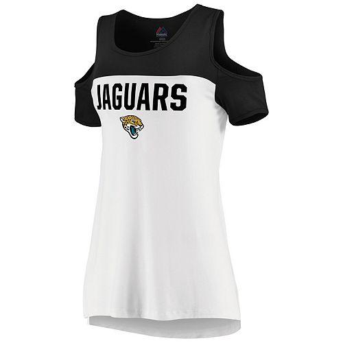 Women's Majestic White/Black Jacksonville Jaguars Pure Dedication Open Shoulder T-Shirt