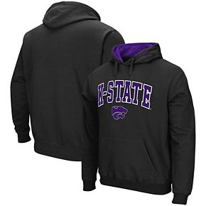 Men's Colosseum Black Kansas State Wildcats Arch & Logo Pullover Hoodie