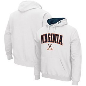 Men's Colosseum White Virginia Cavaliers Arch & Logo Tackle Twill Pullover Hoodie