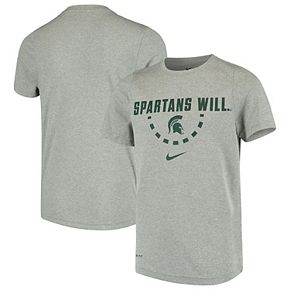 Youth Nike Heathered Gray Michigan State Spartans Legend Local Basketball Performance T-Shirt