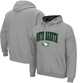 Men's Colosseum Gray North Dakota Arch & Logo Pullover Hoodie
