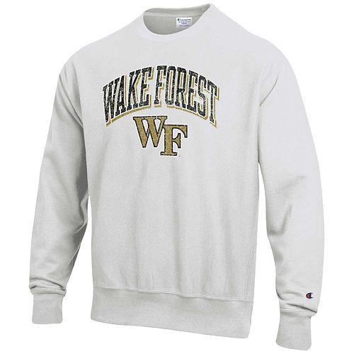 Men's Champion Gray Wake Forest Demon Deacons Arch Over Logo Reverse Weave Pullover Sweatshirt