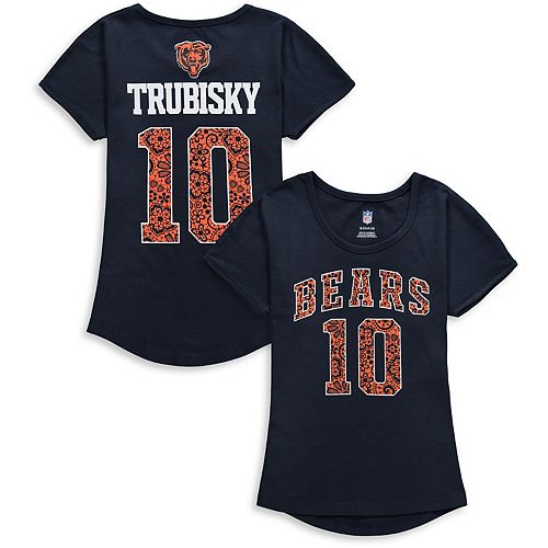 Girls Youth Mitchell Trubisky Navy Chicago Bears Dolman Lace Player Name & Number T-Shirt