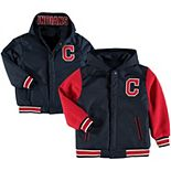 Youth JH Design Navy/Red Cleveland Indians Reversible Hooded Jacket